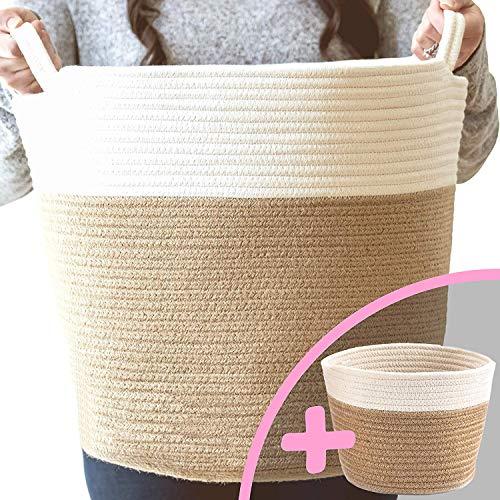 Little Hippo 2pc Large Cotton Rope Basket 16x15 100 Natural Cotton Rope Basket Woven Storage Basket Large Basket Blanket Basket Living Room Toy Basket Pillow Basket Round Basket