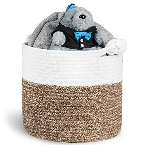 Polarduck Cotton Rope Basket 13 x 12 x 11 Baby Laundry Basket Laundry Hamper Woven Blanket Basket Nursery Bin Organizer Toys Storage Basket with Lucky Knots Handle Natural White Jute