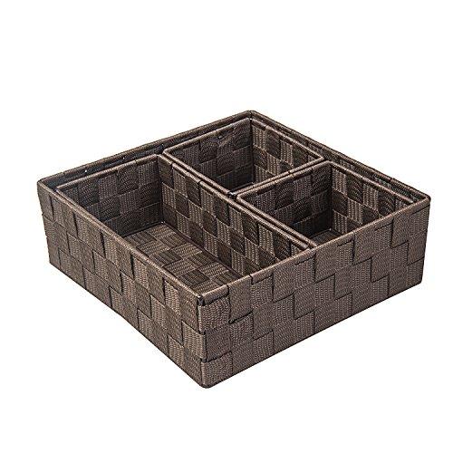 Posprica Woven Storage Box Drawer Closet Dresser Organizer Cube Basket Bins Containers Divider for SocksTiesScarvesset of 4 Brown