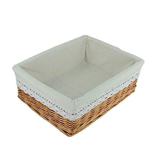 RURALITY Rectangular Wicker Woven Storage Basket with LinerLarge