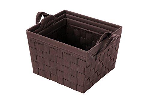 Woven Storage Baskets  Nesting Baskets - Brown Organization Baskets - 3 Piece Set