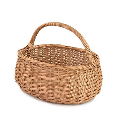 RURALITY Eco-friendly Wicker Basket Woven Storage Basket with Handle