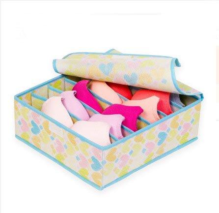 6 grid Underwear Bra Storage Box Covered storage box Finishing box Bra Briefs Storage Box Drawer Yellow Heart
