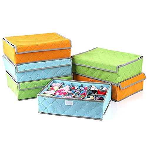 Hubry TM 1 pc Hot Sale 1pcs Fashion Folding Covered Storage Box Bag Grid Pattern for Bra Underwear Necktie Sock Organizer New 3 Size