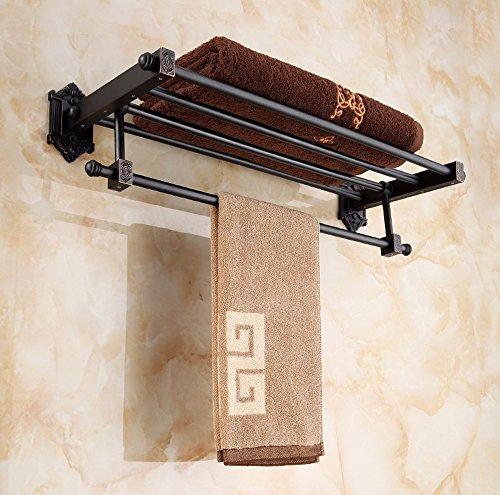 60cm black Antique Bathroom shelf shower multifunction thick bath towel rack Double Metal Hanger