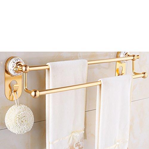 European style Towel rackDouble pole towel rackSpace aluminum bathroom accessoriesMetal-bathroomshelfwall mounted rack-A