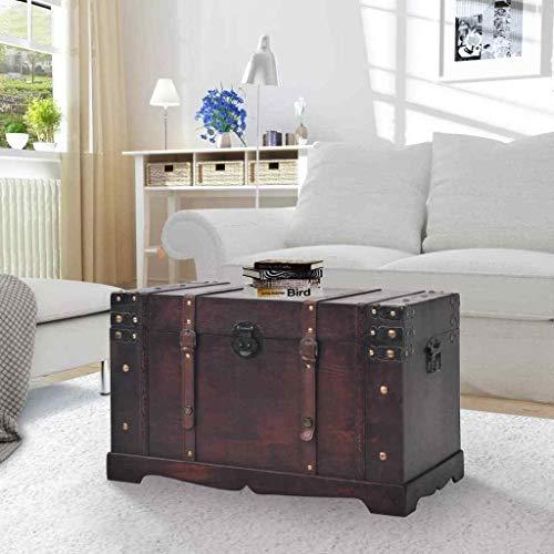 AlekShop Coffee Table Organizer Box Storage Trunks Large Wooden Treasure Blanket Chest Style Vintage Antique Decor Living Room