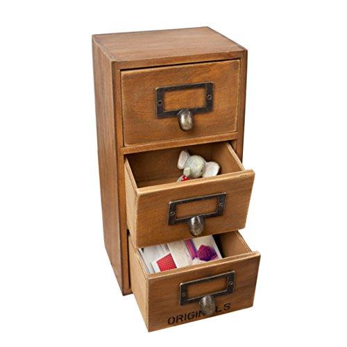Storage Chest Box Yamix Retro Design Household Essentials 3-Level 3-Drawer Wooden Storage Chest CabinetJewelry Organizer - Yellow