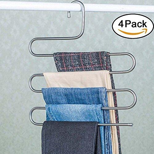 Genenic 4Pcs Multi-Purpose S-type Metal Pants HangersCloset Storage for Jeans Trousers Space Saver Storage Rack 14x03x15inchs