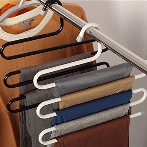 Pants Hangers S-Shape Stainless Steel Jeans Hanger Clothes Storage Rack Jeans Scarf Hanger Necktie Organizer Belt Holder Hook 3-Pack