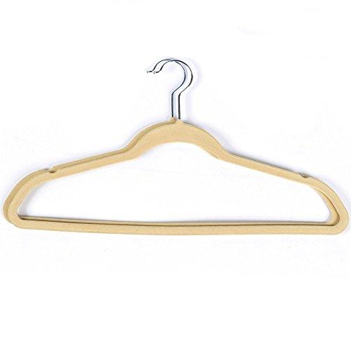 Yaheetech Velvet Suit Hangers Non-Slip Thin Clothes Hangers100 Pack Beige