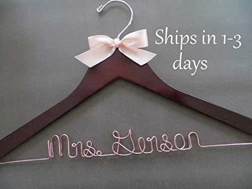 Encounter168 Rose Gold Wedding Hanger Wire Wedding Hanger Bridal Hanger with Bow Personalized Hanger Bride Hanger Engagement Gift Name Hanger