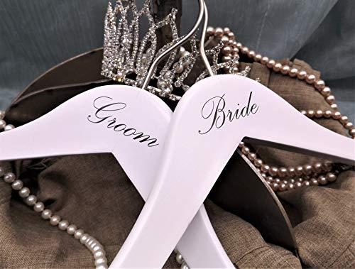 NAHANCO BG20117 Bridal Hanger Set White Wood Hangers with Black Imprint Bride and Groom 17 2 Piece Set