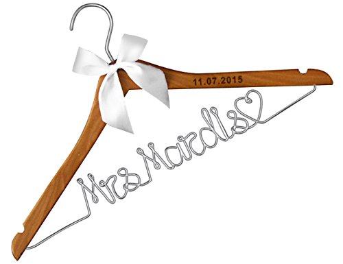 VVFOR Wood Wedding Hangers-Lser Engraved Custom Personalized Bridal Dress Hanger Gifts for Bride Mother of The Brides Gifts Gifts for Groom