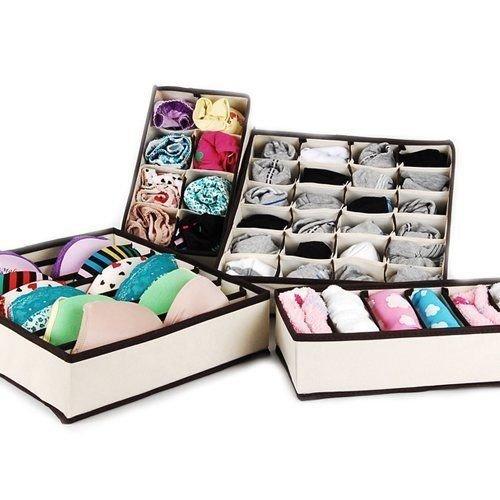 Generic LQ8LQ2534LQ sser Di Dresser Divider t Organ Organizer Drawer Bra Bra Underwear erwear Home Closet ox Bin 4 Se Storage Box Bin 4 Set US6-LQ-16Apr15-1231