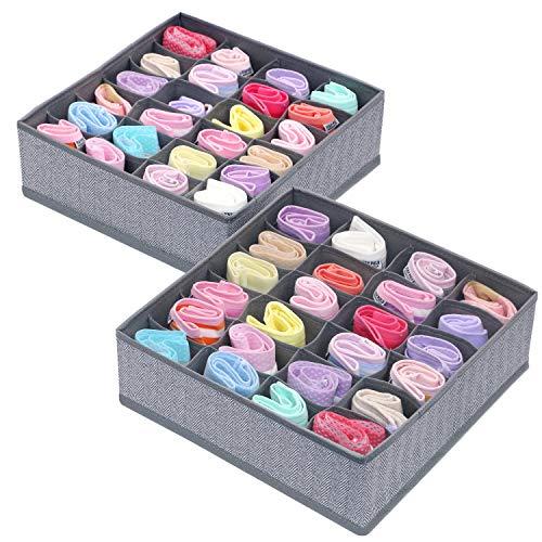 Onlyeasy Closet Dresser Drawer Organizer Divider 24 Cells x 2 Foldable Cloth Storage Box Basket Bins for Socks Underwears Handkerchiefs Ties Belts Herringbone Grey MXRS24P2