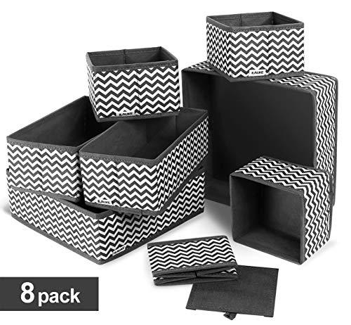ilauke Drawer Underwear Organizers Storage Box Foldable Closet Dresser Drawers Divider Organizer Fabric Cloth Basket Bins for Sock Bras Baby Clothes Set of 8 Grey