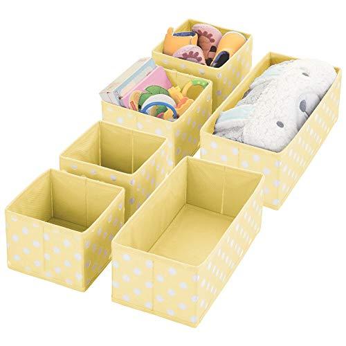 mDesign Soft Fabric Dresser Drawer and Closet Storage Organizer for KidsToddler Room Nursery Playroom Bedroom - Herringbone Print - Organizing Bins in 2 Sizes - Set of 6 - Light Yellow