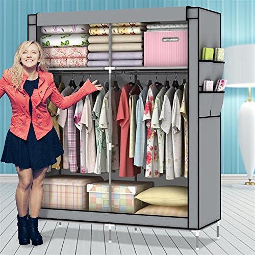 Amanda Home Portable Clothes Closet Wardrobe Fabric Clothes Storage Organizer 69 x 43 x 18in Grey