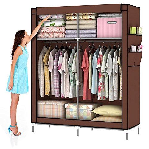 MWGears 10140H Portable Clothes Closet Wardrobe Fabric Clothes Storage Organizer Coffee 69 x 43 x 18in