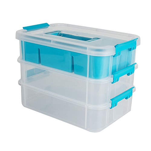 Ovovo Storage Bin with Lid Three Layers of Removable Plastic Storage Box Clothes Storage Container Beauty Tools Box Jewelry Organizer Transparent Box