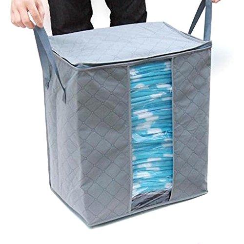 Tinksky Foldable Zippered 3-Layer Clothes Blanket Storage Bag Organizer Box 65LGrey
