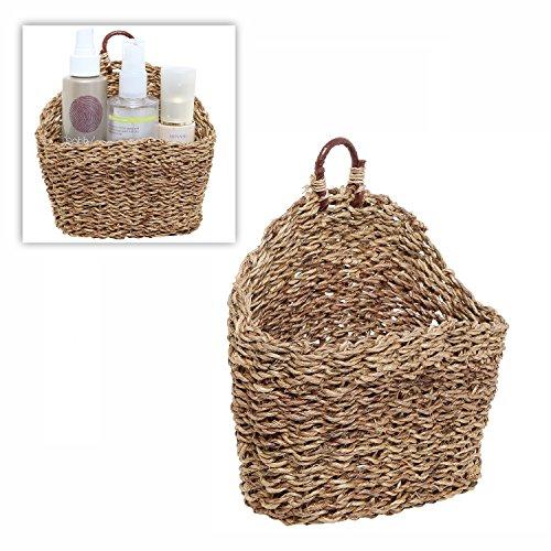 65 Inch Handmade Weave Hanging Storage Basket  Multipurpose Small Indoor Display Bin Brown