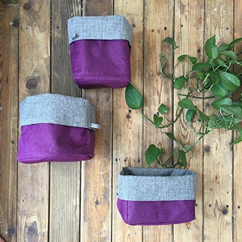 Hihome Hanging Storage Basket Waterproof Linen Rope Woven Purple Washable Storage Bin for Nursery Bathroom Living Room