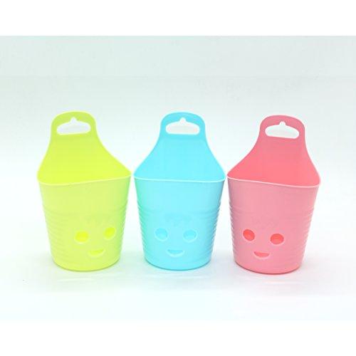 IDS Portable Smiling Face Hanging Storage Basket Bathroom Cosmetic Storage Basket Pack of 3