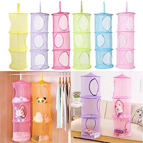 Prettysell Cute 3 Shelf Hanging Storage Basket Net Organizer Bag Bedroom Door Wall Closet Organizers Toy Basketcolor random