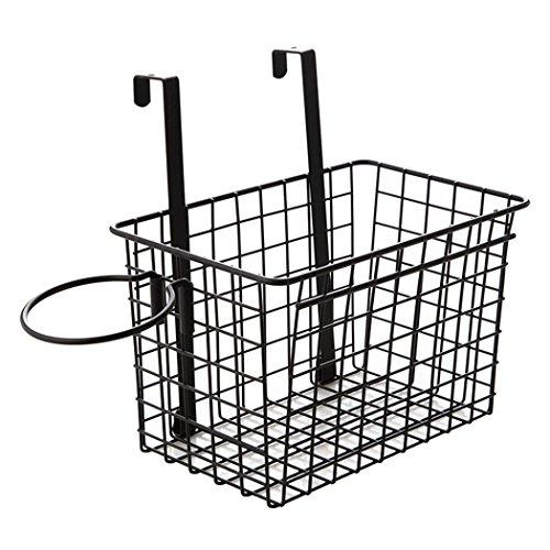 SHENGXIA Kitchen Bathroom Storage Organizer Basket Rack Holder Hanging Cabinet Wall Mounted Basket Black