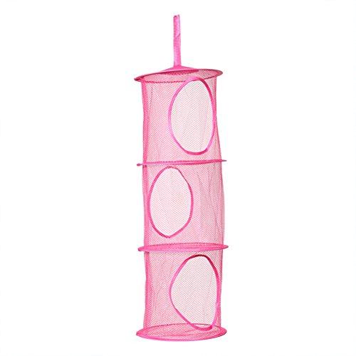 diffstyle 3 Tier Shelf Hanging Storage Mesh Net Foldable Kids Toy Organizer Bag Basket Bedroom Wall Door Closet Rose Red