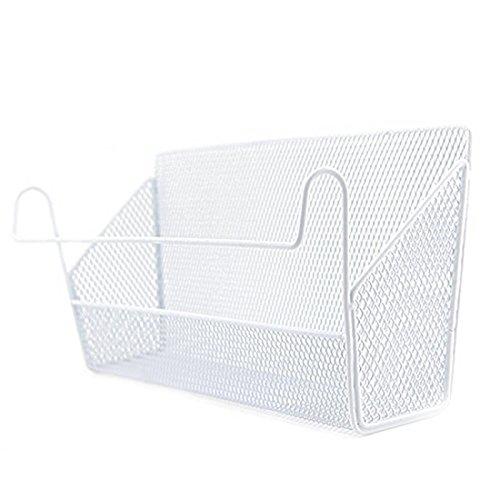 haoun Bedside Hanging Storage Basket Office Desk Dormitory Iron Mesh Origanizer Caddy for Book Phone Magazine Holder - White