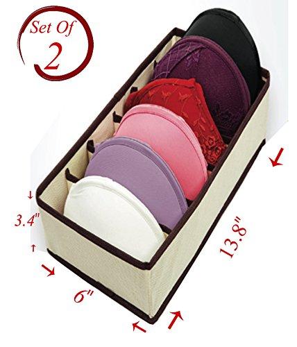 6 Divider Collapsible Closet Storage Box Underwear Drawer Organizer Beige Size 12 ½'' x 6''x 7 ½'' Set of 2