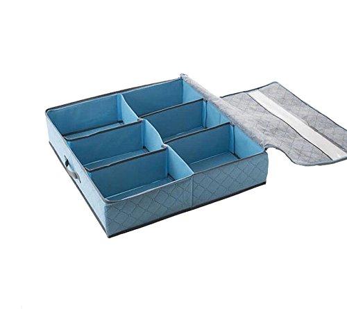 Generic Storage Box Bra Underwear Closet Organizer Drawer Divider Blue