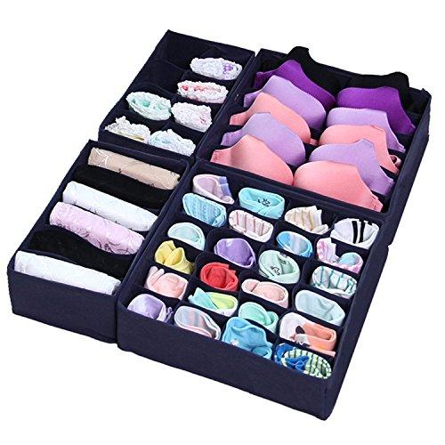 iYaYoo Bra Sock Underwear Drawer Organizer Foldable Closet Storage Boxes Dividers 4 Set Deep Blue
