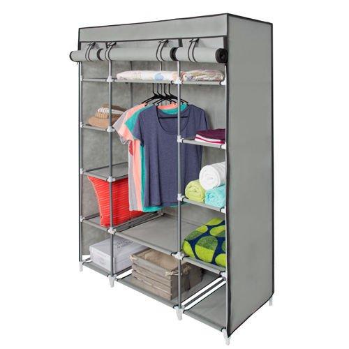 "53"" Portable Closet Storage Organizer Wardrobe Clothes Rack With Shelves gray"