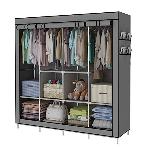 YAYI Portable Wardrobe Clothing Wardrobe Shelves Clothes Storage Organiser with 4 Hanging RailGrey