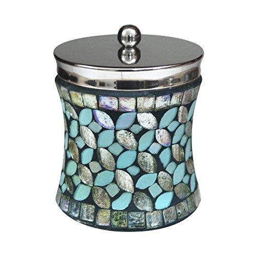nu steel Sea Foam Collection Q tip Holder Bathroom Vanity Storage OrganiserCanister Apothecary Jar Swabs Round Cotton Balls Aqua Finish Mosaic GlassStainless Steel