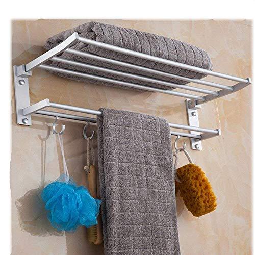 xiaoshulin Wall-Mounted Aluminum Alloy Bathroom Towel Storage Organiser Shelf Foldable Bath Double Towel Shelf Bath Towel Rack with Towel Bar and Hooks 602510cm by Candora