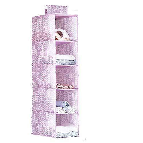 Alipher Hanging Closet Organizer Breathable Cloth Hanging Shelf Hanging Organizer Hanging Clothes Storage Box 5 Shelves Pink