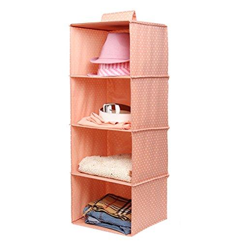 Phoenix Wonder Durable Hanging Clothes Storage Box Home Decor Organizer 4 ShelfDotPink