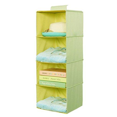 Phoenix Wonder Durable Hanging Clothes Storage Box Home Decor Organizer4 ShelfMatcha Green