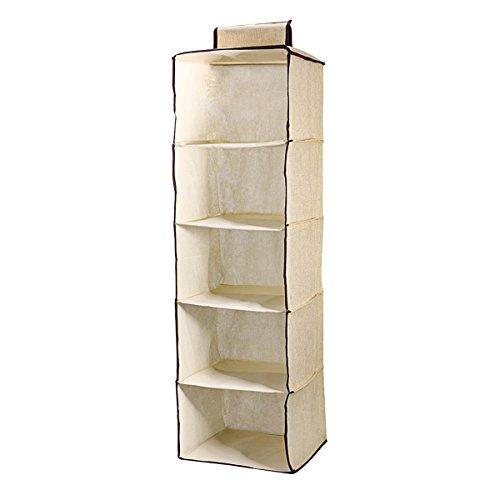 VORCOOL Home Hanging Clothes Storage Box 5 Shelving Units Durable Accessory Shelves Eco-Friendly Closet Cubby Sweater Handbag Organizer Beige