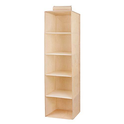 Wnvivi 5-Shelf Hanging Closet Organizer Collapsible Hanging Clothes Storage Box Space Saver for Sweater Hat Handbag