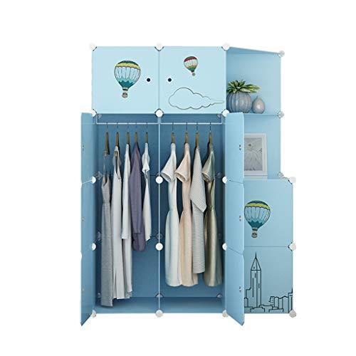 XXH Portable Wardrobe Blue Hanging Clothes Storage Box Simple Assembly DIY Wardrobe - Length 111 cm × Width 47 cm × Height 147 cm AA