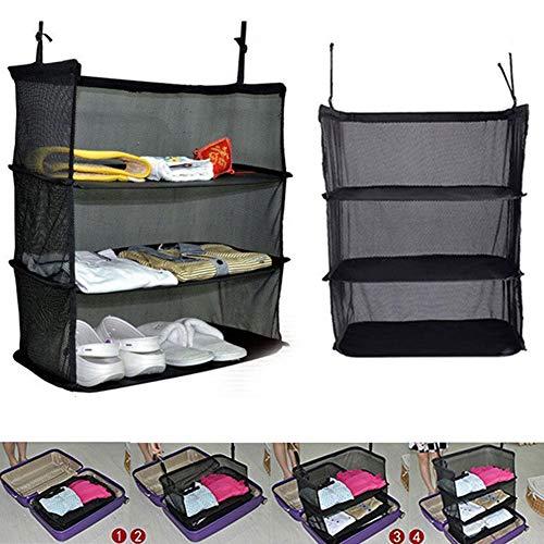 yanQxIzbiu Hanging Closet Organizer 3-Layer Foldable Wardrobe Hanging Storage Bag with Hooks Clothes Holder Closet Organizer for Bedroom Bathroom Hanging Clothes Storage Box Black