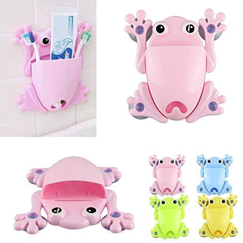 SMYTShop Brush Holder-Cute Frog Toothbrush Makeup Tools Wall Stick Paste Organizer Holder Hook Pink
