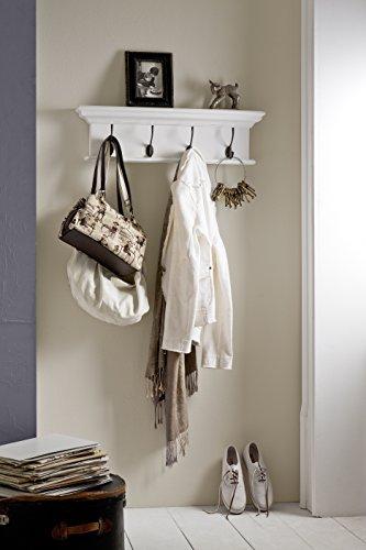NovaSolo Halifax Pure White Mahogany Wood 4-Hook Coat Rack And Top Shelf