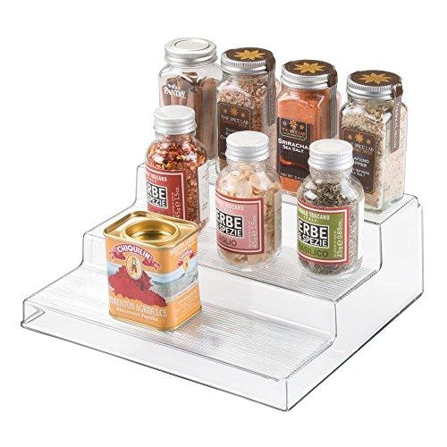 iDesign Linus Linus Plastic 3-Tier Spice Rack Stadium Organizer Rack for Kitchen Pantry Cabinet Countertops Bathroom Desk Clear